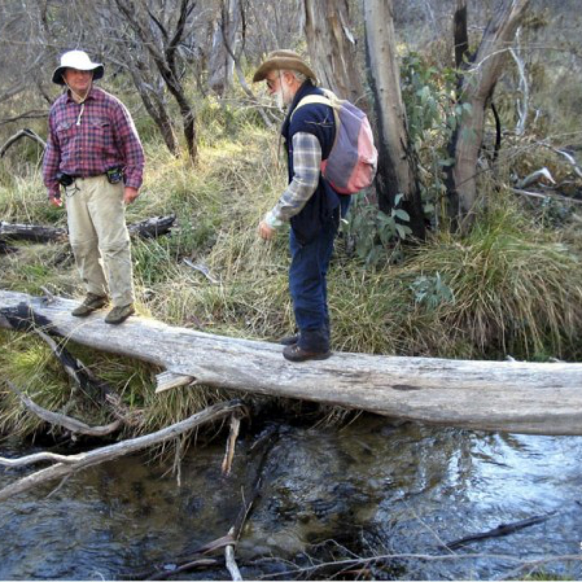 Once more Kevin, what's the password? - crossing Sams Creek - Namadgi National Park
