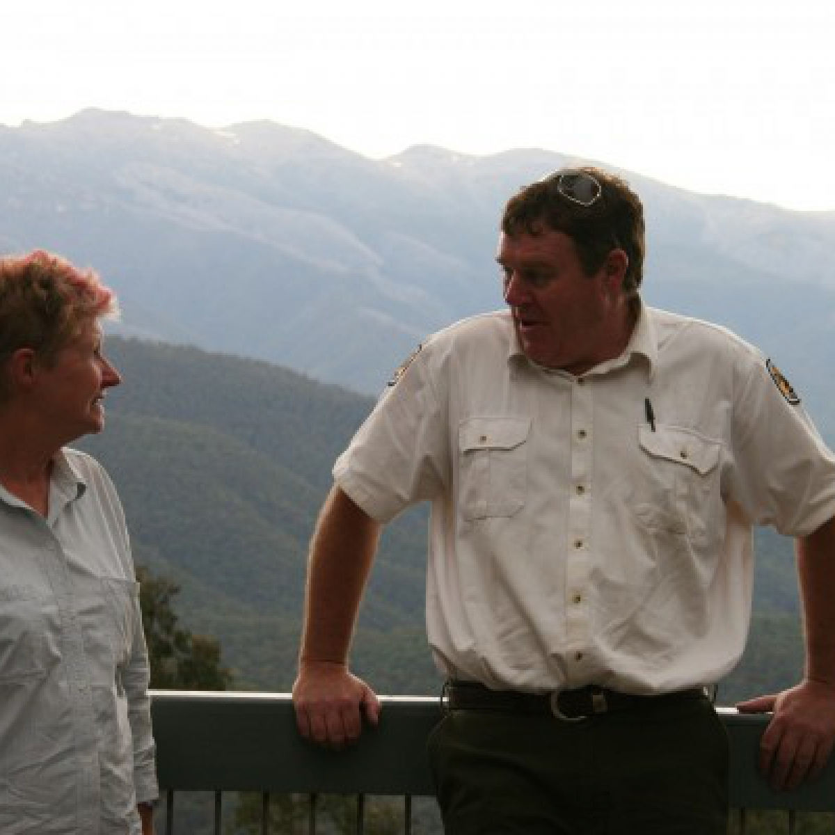 Mary and David converse at Scammels Lookout