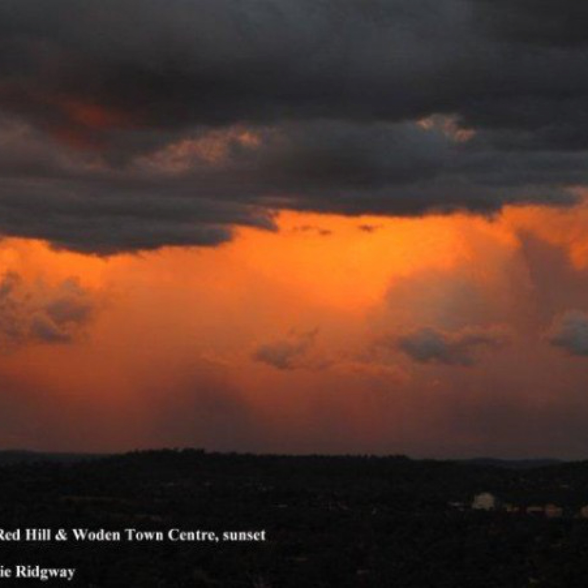 Red Hill and Woden town centre at sunset