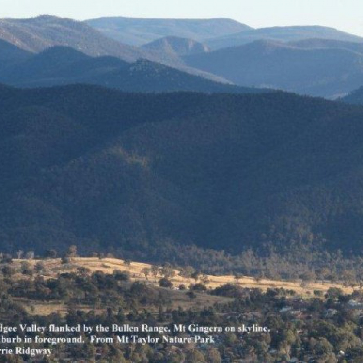 Murrumbidgee flanked by Bullen Range with Mt Gingera on skyline
